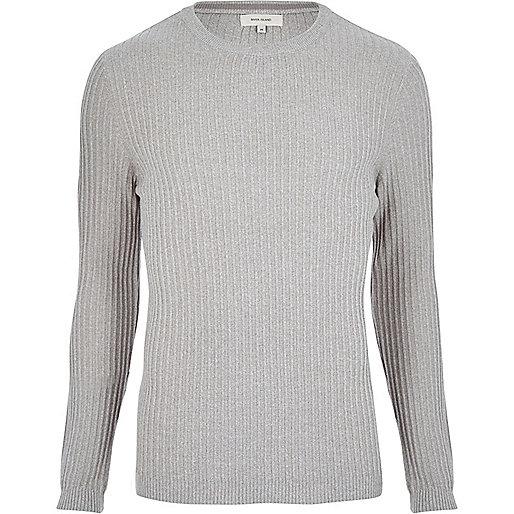 Light grey ribbed sweater