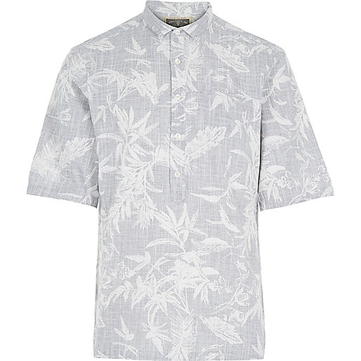 Grey Holloway Road botanical print shirt