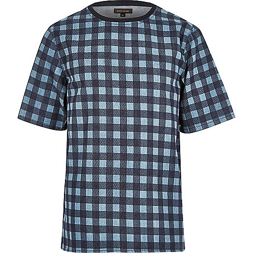 Blue check short sleeve t-shirt