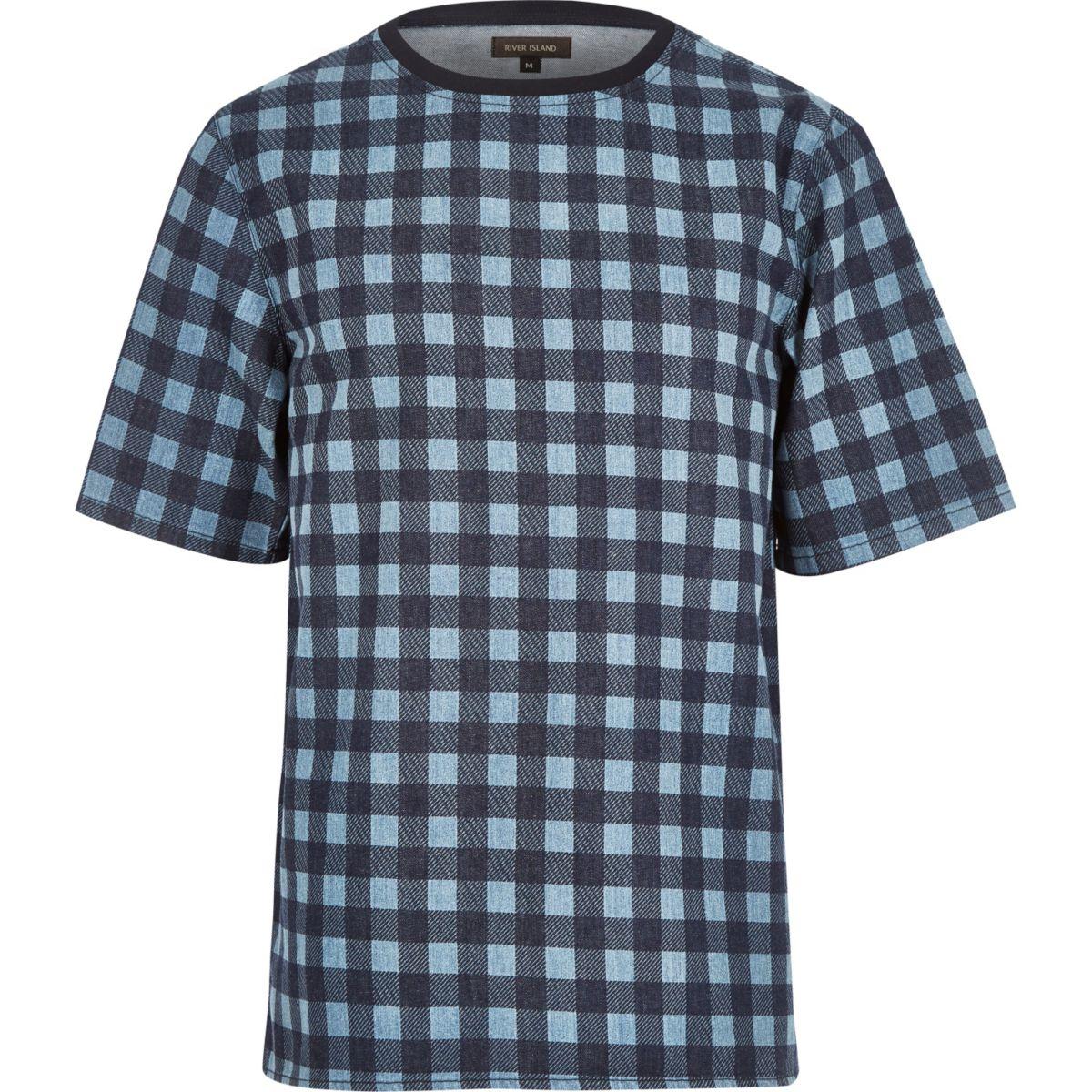 Blauw geruit T-shirt met korte mouwen