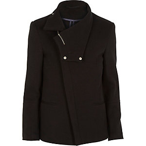 Black jersey asymmetric cowl neck blazer