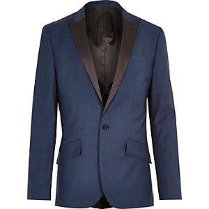 Blaue schmale Smokingjacke aus Wollmischung