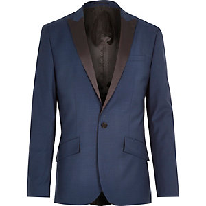 Blue tux wool-blend slim suit jacket