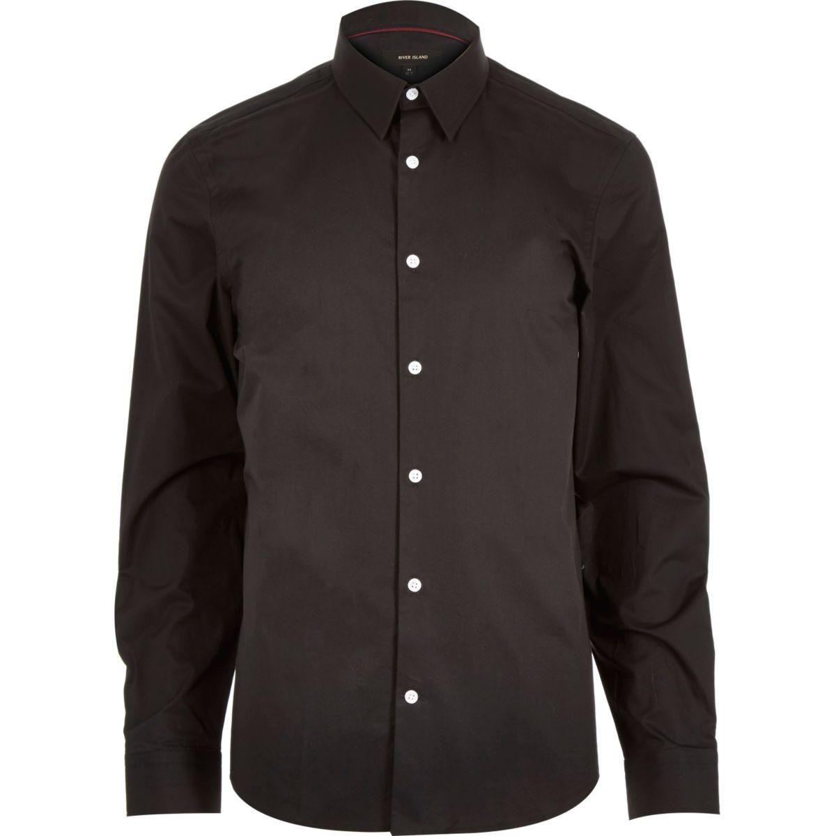 Black Slim Fit Shirt Shirts Sale Men