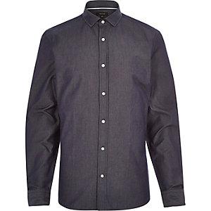 Marineblauw overhemd met lange mouw van donker denim