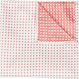 Ecru red square pocket square