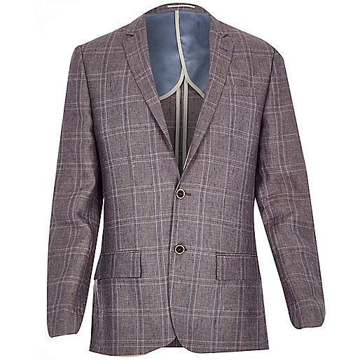 Purple linen-blend check slim blazer