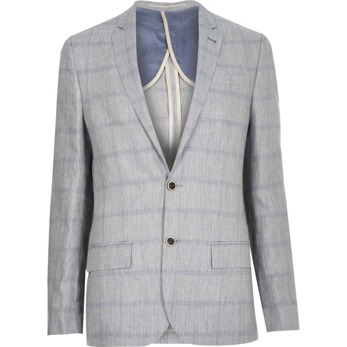 Grey Check Linen Blend Blazer Blazers Sale Men