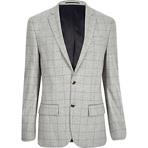 Grey check wool-blend slim blazer
