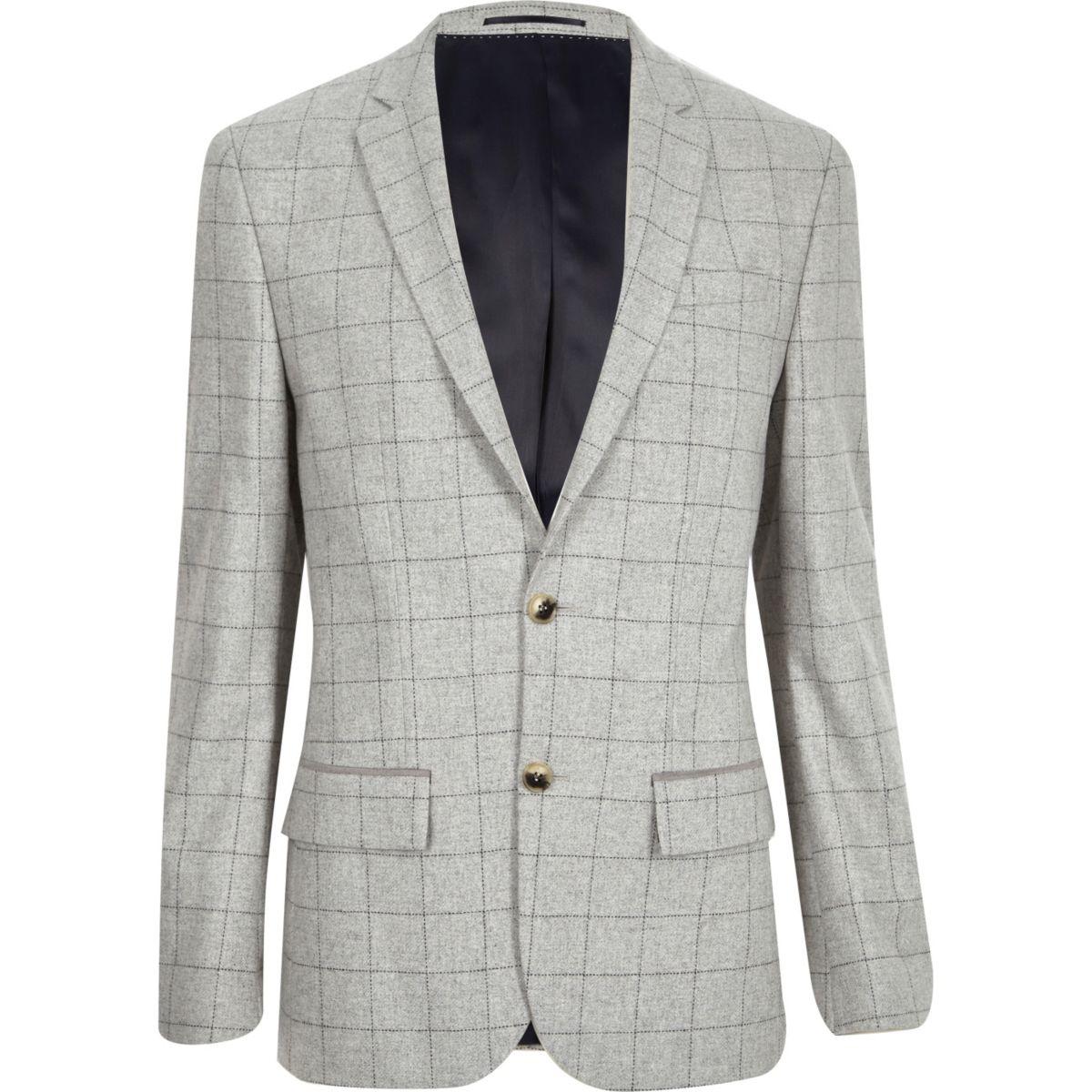 Grey check wool-blend slim blazer