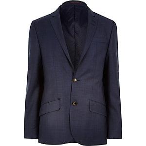 Navy subtle check slim suit jacket
