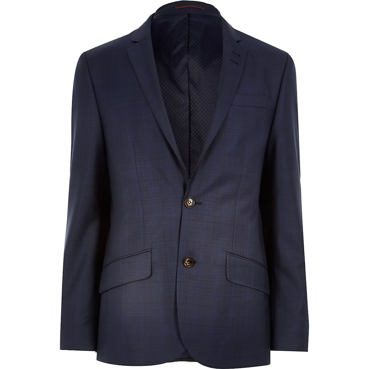 Navy subtle check slim suit jacket