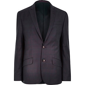 Purple check slim suit jacket