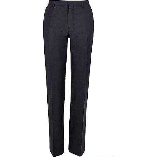 Purple check slim suit pants