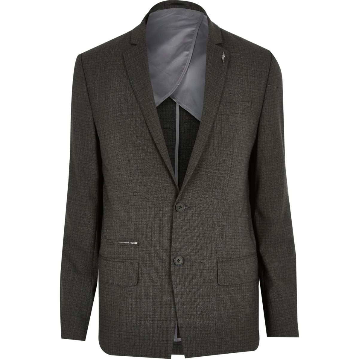 Grey check wool-blend slim suit jacket