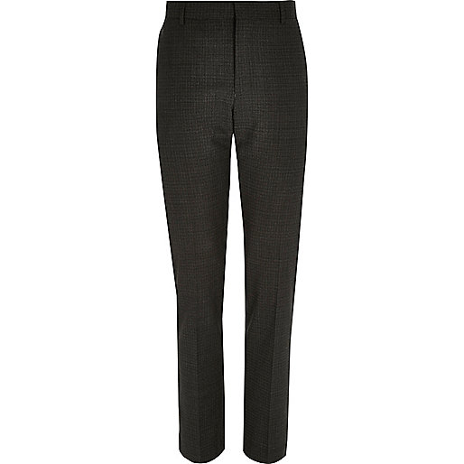 Grey check wool-blend slim suit trousers