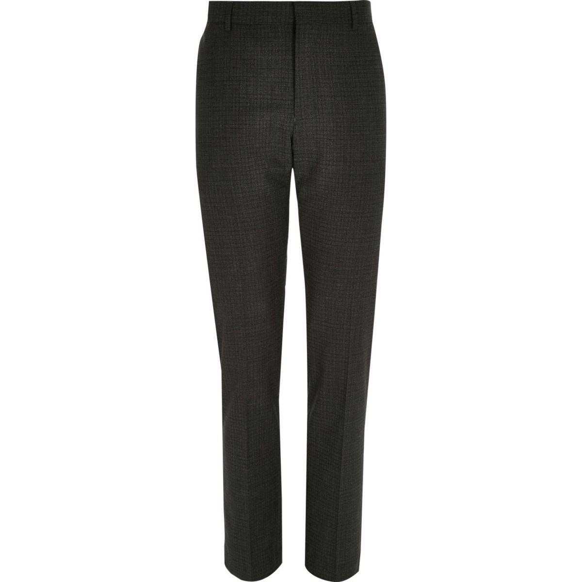 Grey check wool-blend slim suit pants