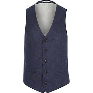 Navy wool-blend slim suit waistcoat