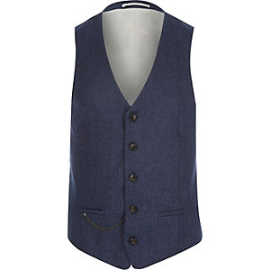 Navy wool-blend slim suit vest