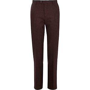 Pantalon de costume slim en laine mélangée couleur baie