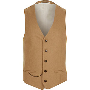 Brown slim suit waistcoat