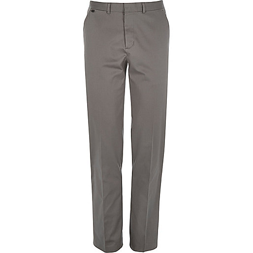 Grey smart stretch slim fit trousers