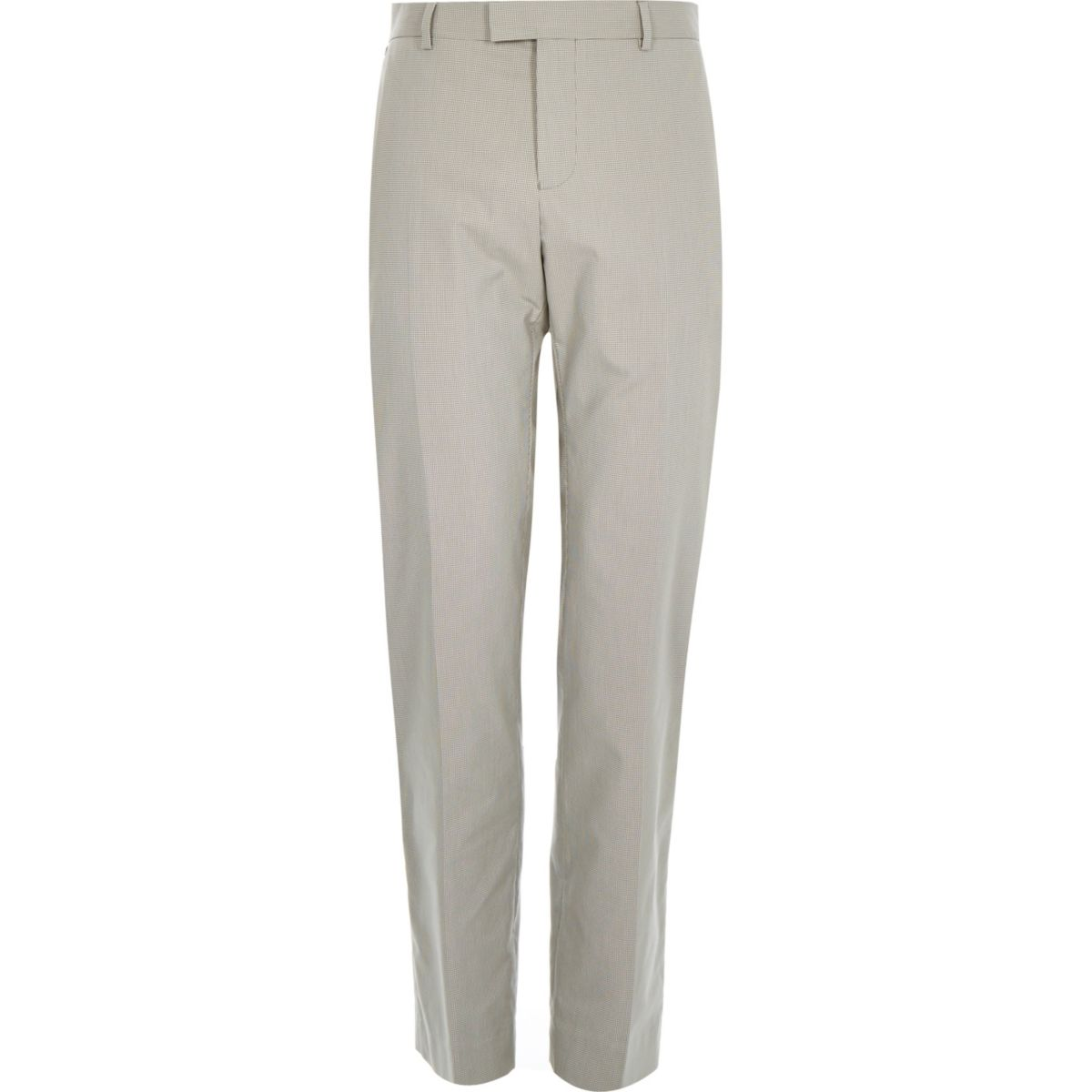 Ecru smart cotton-blend slim pants