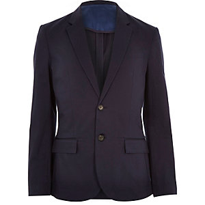 Navy cotton stretch blazer