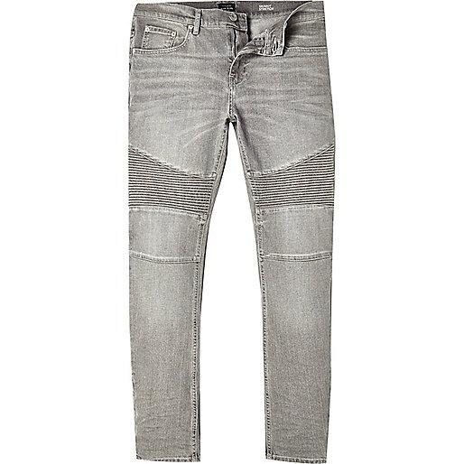 Grey Sid skinny stretch biker jeans