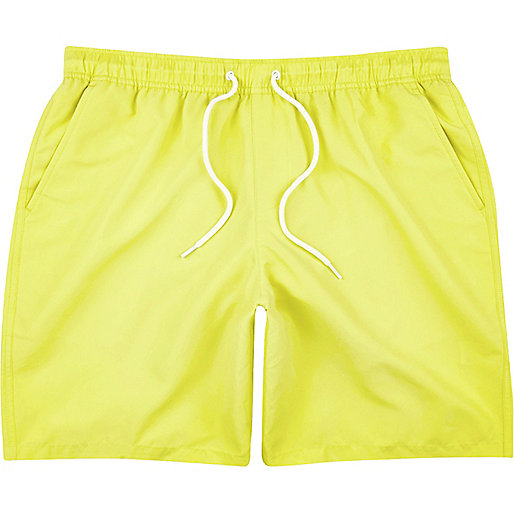 Bright yellow drawstring swim trunks