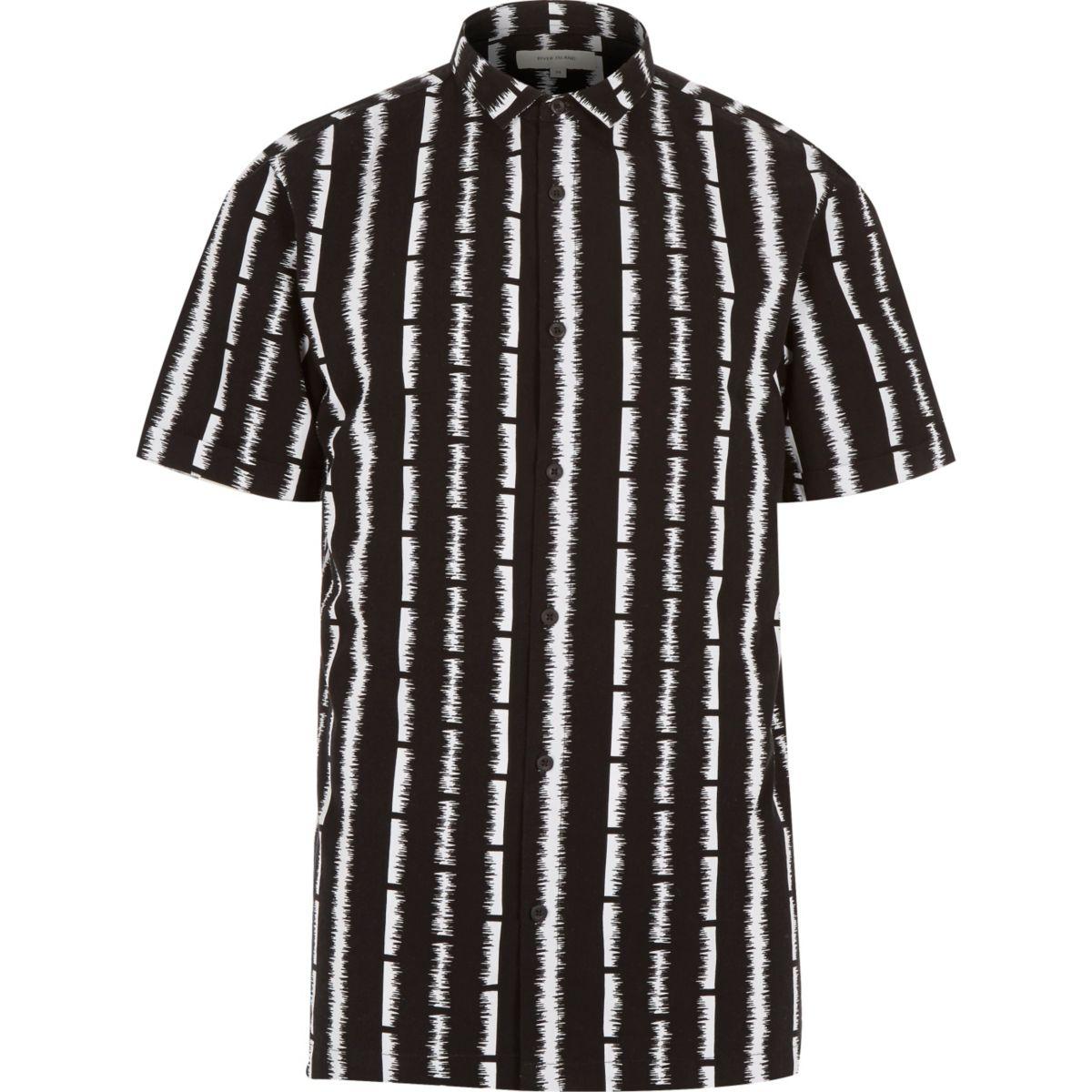 Chemise rayée noire à manches courtes