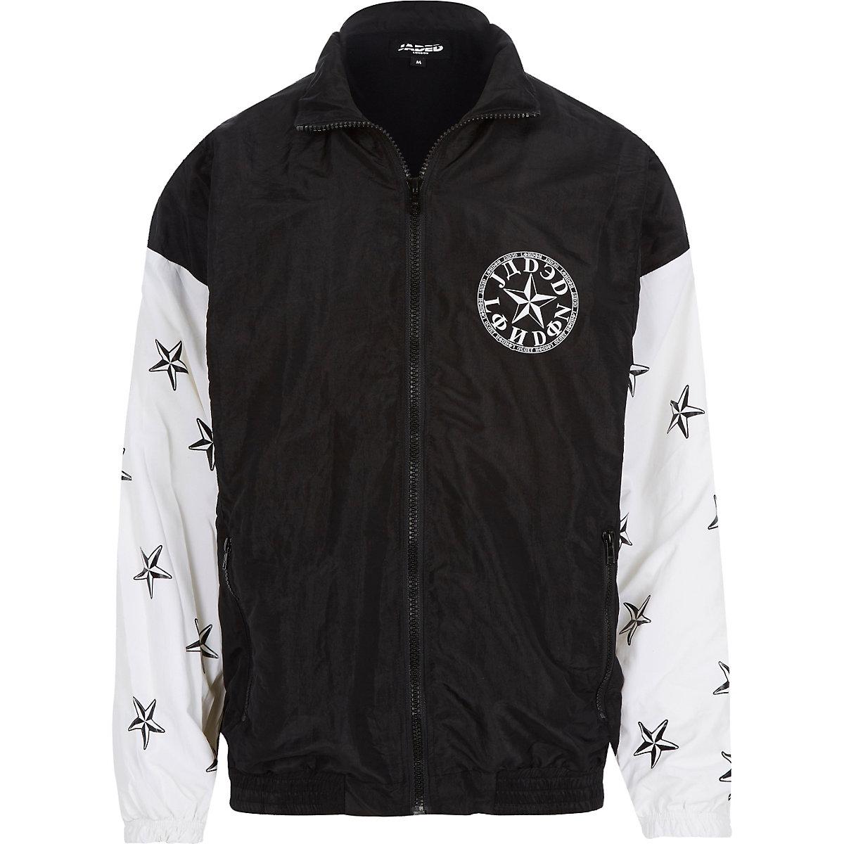 Black Jaded star print shellsuit jacket