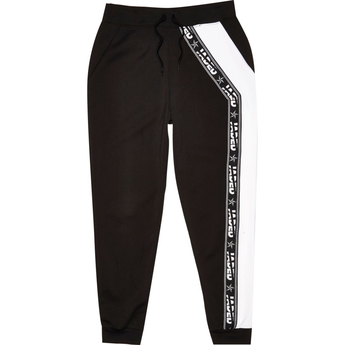 Black Jaded tape joggers