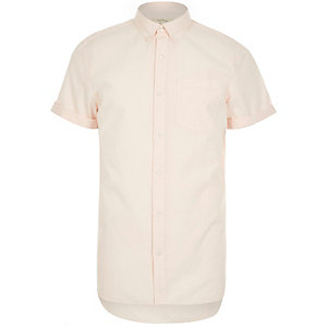 Pink poplin short sleeve shirt