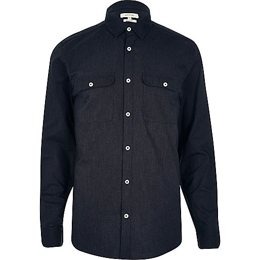 Navy pocket long sleeve shirt