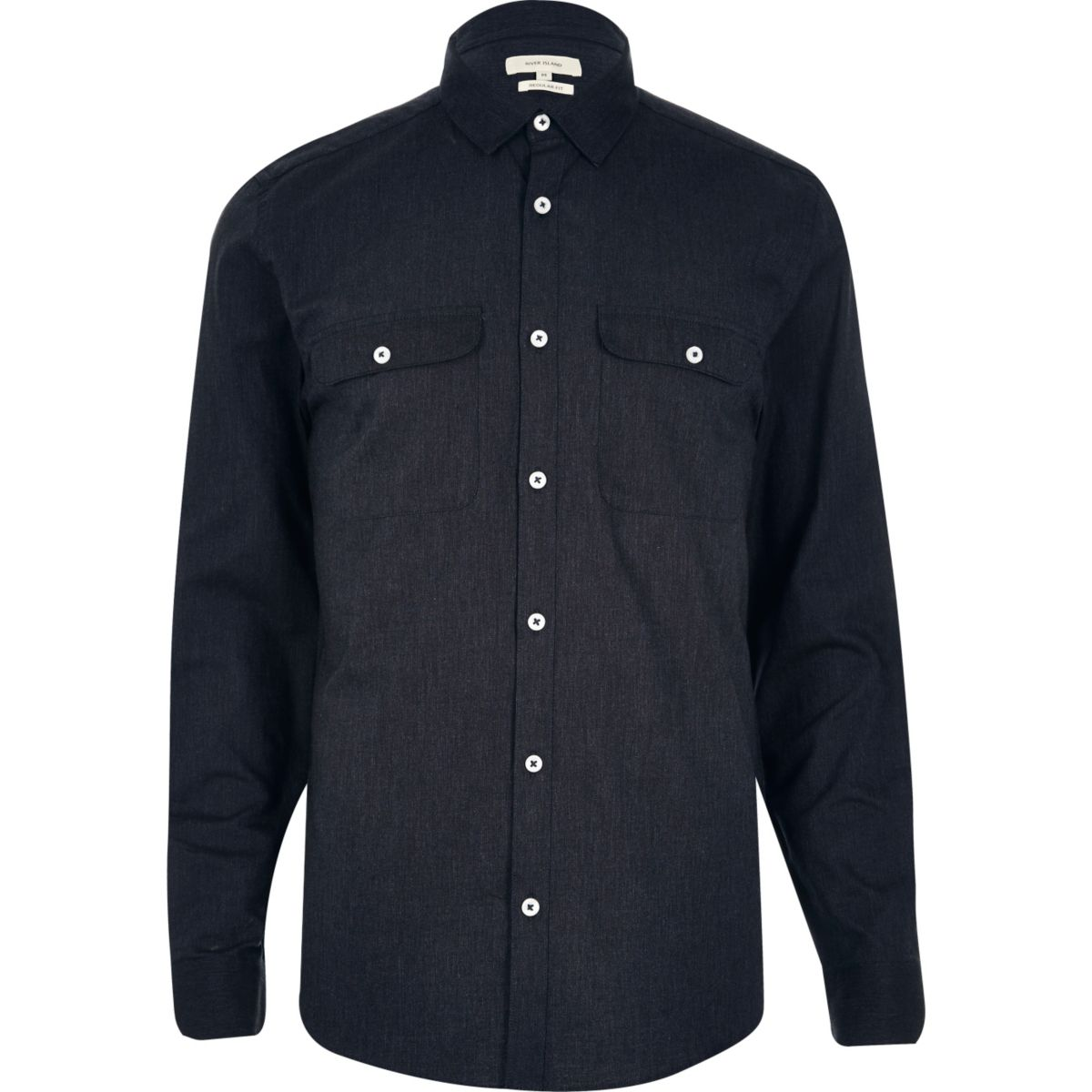 Navy pocket long sleeve shirt