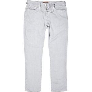 Grey linen-Tencel blend slim trousers