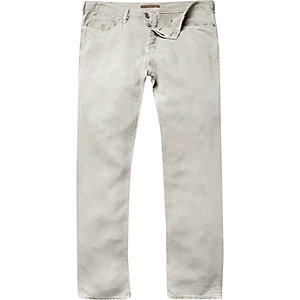 Light khaki linen-blend trousers