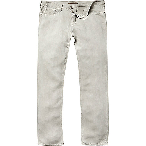 Light khaki linen-blend pants