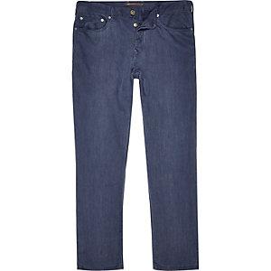 Navy linen slim trousers