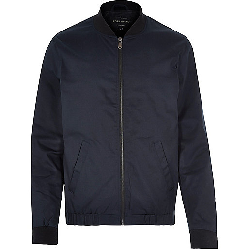 Navy blue casual bomber jacket