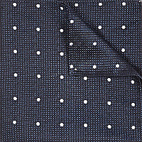 Navy silk spot texture pocket square