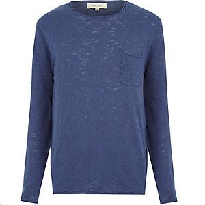 Blue marl lightweight pocket sweater