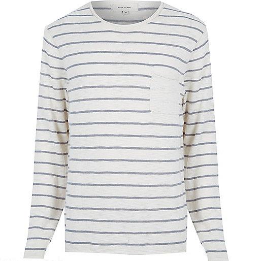 Ecru stripe marl lightweight pocket jumper