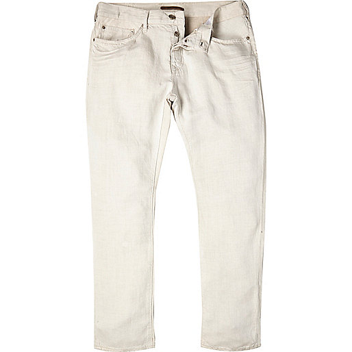 White linen slim chino trousers