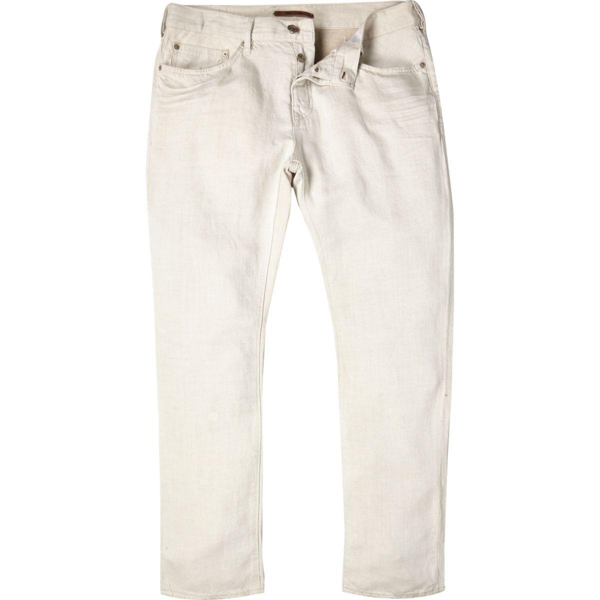 White linen slim chino pants