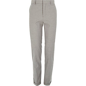 Grey stripe smart tailored slim trousers
