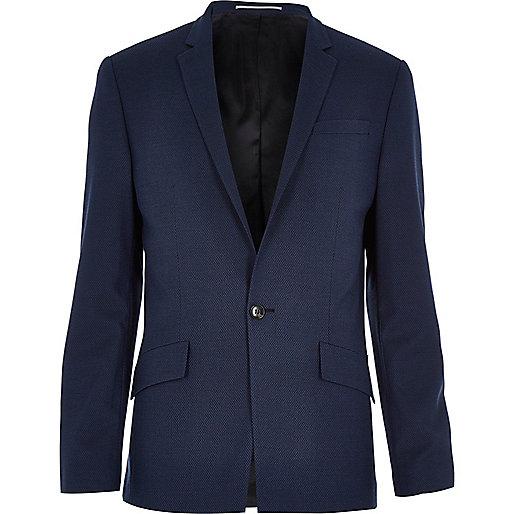 Navy blue tech slim suit jacket