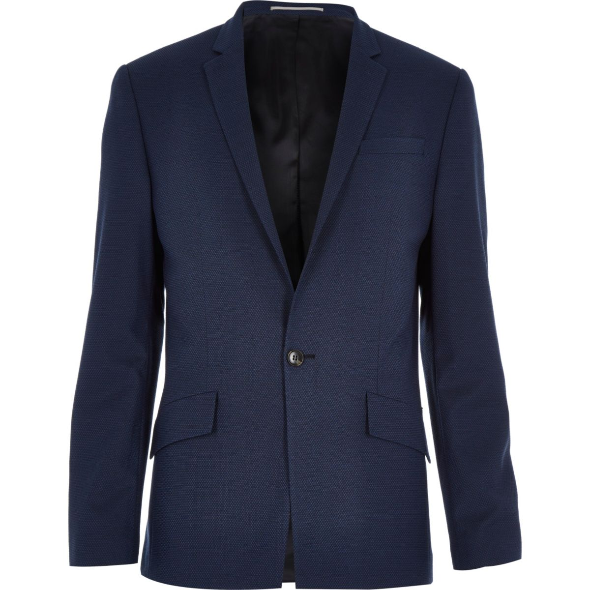 Navy blue tech slim suit jacket