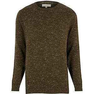 Khaki green melange sweater